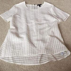 J.Crew White Striped Blouse Sz 12